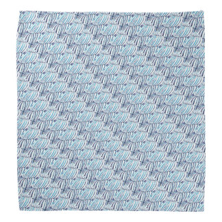 Blue White Layered Linear Pattern Bandanas