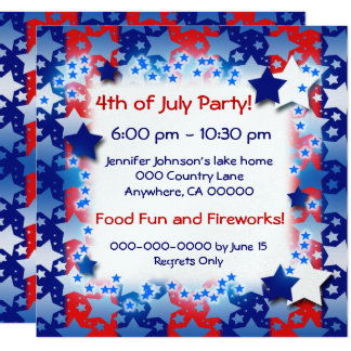 """Blue White Lots of Stars Red Blue Stripes 5.25"""" Square Invitation Card"""