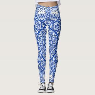 Blue & White Mandala Leggings