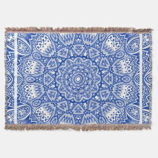Blue & White Mandala Throw Blanket