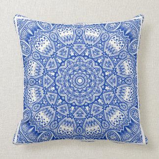 Blue & White Mandala Throw Pillow