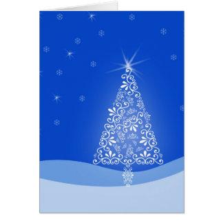 Blue White Merry Christmas Tree Stars Night Light Greeting Card