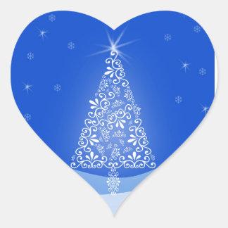 Blue White Merry Christmas Tree Stars Night Light Heart Sticker
