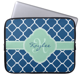 Blue White Mint Quatrefoil Pattern Monogram Laptop Sleeve