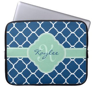 Blue White Mint Quatrefoil Pattern Monogram Laptop Sleeve