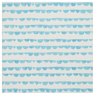 Blue white modern watercolor scalloped stripes fabric