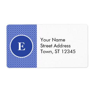 Blue White Monogram Circles Pattern Shipping Label
