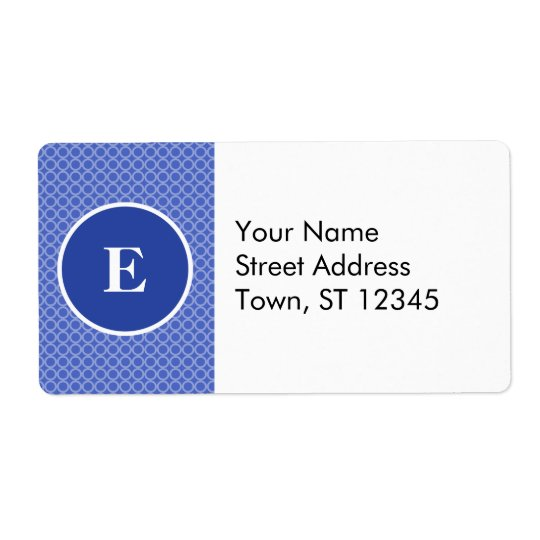 Blue White Monogram Circles Pattern Shipping Label