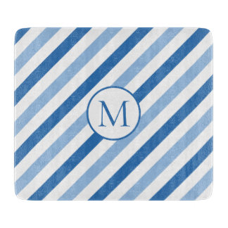 Blue white monogram cutting board