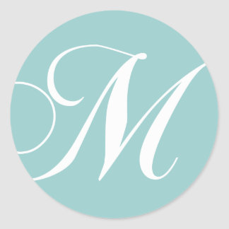 Blue White Monogram M Wedding Favor Sticker