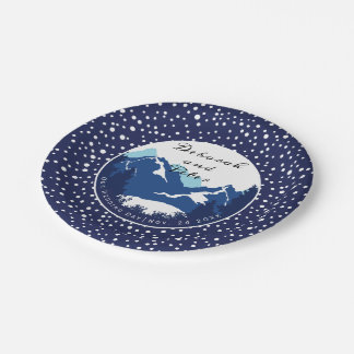 Blue, white mountains and conifer trees wedding paper plate