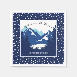 Blue, white mountains and polka dots wedding paper napkin
