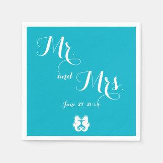 Blue White Mr. and Mrs. Seahorse Wedding Napkins Disposable Napkin