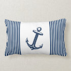 Blue White Nautical Anchor Stripes Lumbar Pillow