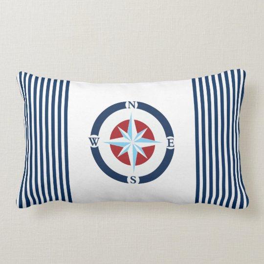 Blue White Nautical Compass Stripes Lumbar Pillow