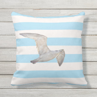 Blue white nautical pastel stripes with seagull outdoor pillow