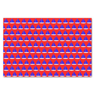 Blue White Nautical Sail Boats on Red Tissue Paper