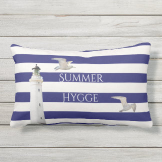 Blue white nautical stripes and lighthouse gulls lumbar pillow