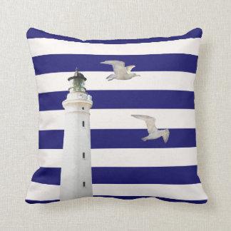 Blue white nautical stripes and lighthouse gulls throw pillow
