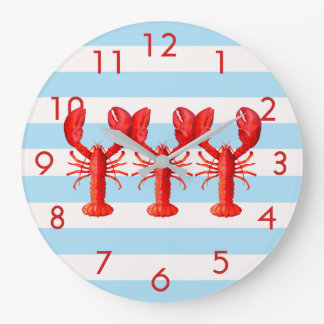 Blue white nautical stripes with lobster decor large clock