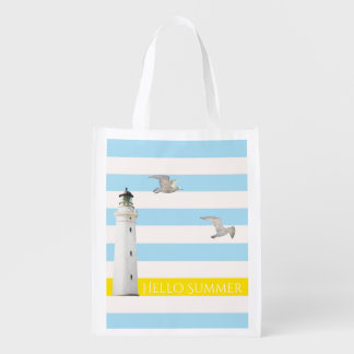 Blue white nautical summer stripes and lighthouse market totes