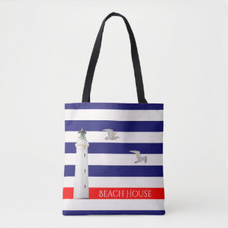 Blue white nautical summer stripes and lighthouse tote bag