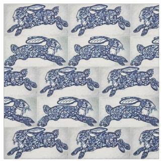 Blue White Oriental Style Rabbits Designer Fabric