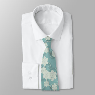 Blue White Paper Flowers Tie