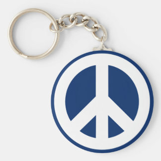 Blue & White Peace Basic Round Button Keychain