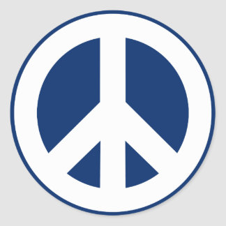 Blue & White Peace Classic Round Sticker