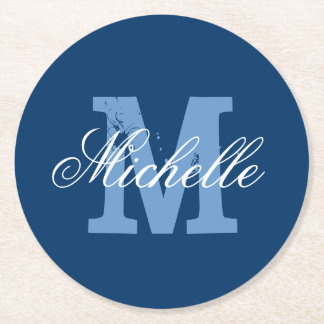 Blue & white personalized monogram paper coasters