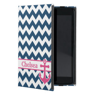 Blue White Pink Chevron Anchor Name Cover For iPad Mini