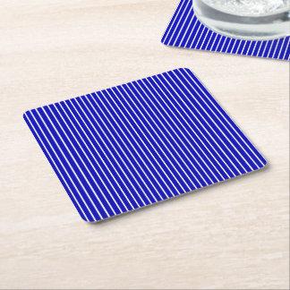 Blue White Pinstripe Square Paper Coaster