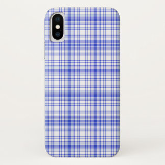 Blue White Plaid 2 iPhone X Case