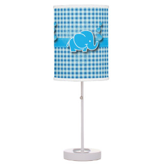 Blue & White Plaid Baby Elephant Design Table Lamp