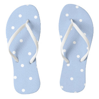 Blue/White Polka Dot Flip Flops