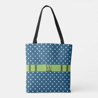 Blue White Polka Dot Green Band Monogram Tote Bag