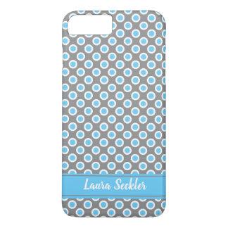 Blue-white polka dots pattern Monogram iPhone 8 Plus/7 Plus Case
