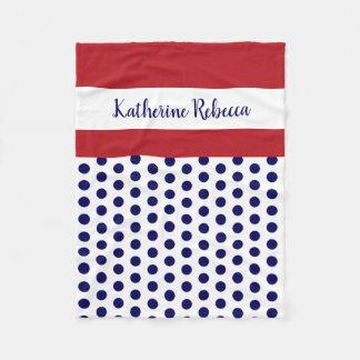 blue/white polka dots w red/white; personalized fleece blanket