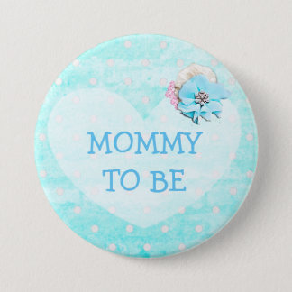 Blue White Polka Dotted Grandma To Be Button