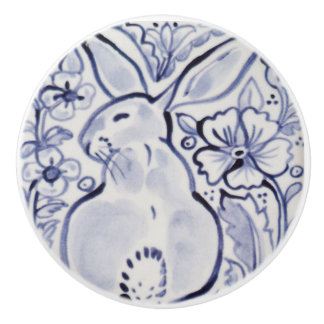 Blue White Pretty Floral Rabbit Drawer Knob Pull