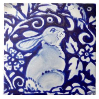Blue & White Rabbit Bird Floral Dedham Tile Trivet