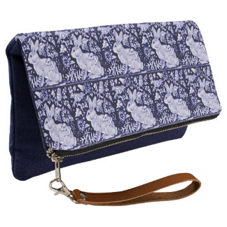 Blue & White Rabbit Bird Tile Clutch Purse Dedham
