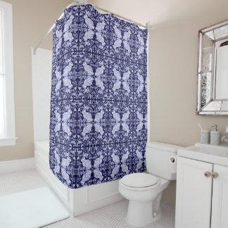 Blue White Rabbit Bird Tiled Shower Curtain Dedham