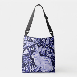 Blue & White Rabbit Birds Floral Designer Tote Bag