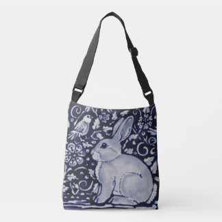 Blue & White Rabbit Floral Designer Shopping Tote