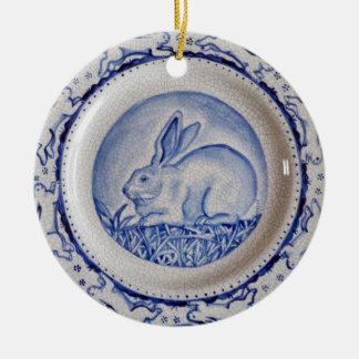 "Blue & White Rabbit Pottery Ornament,""Dedham Blue"" Ceramic Ornament"