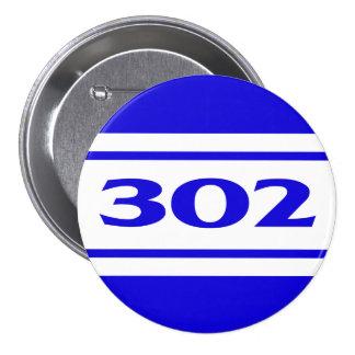 Blue White Race Stripe Muscle Car 302 Button Button