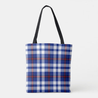 Blue White Red Tartan Plaid Tote Bag