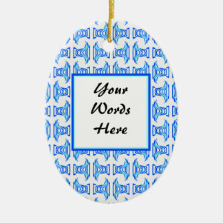 Blue White Retro Folk Pattern Christmas Tree Ornaments